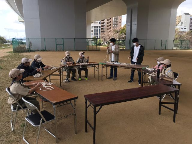 垂水区舞子のボーイスカウト神戸第2団 ボーイ隊 ロープワーク